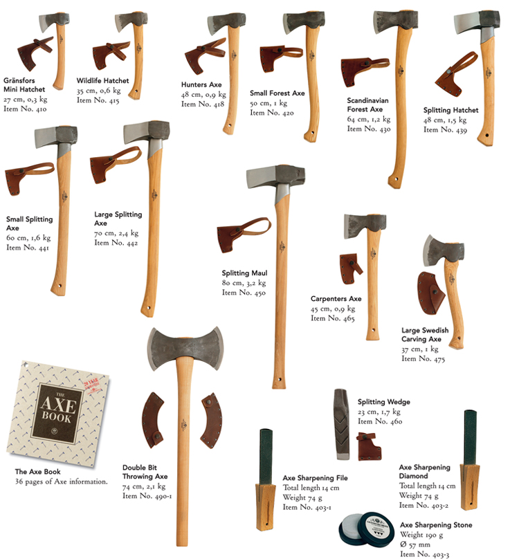 Range of Gransfors Bruks Axes and Hatchets Wildlife Small Forest Axe splitting carving large hunters scandinavian swedish