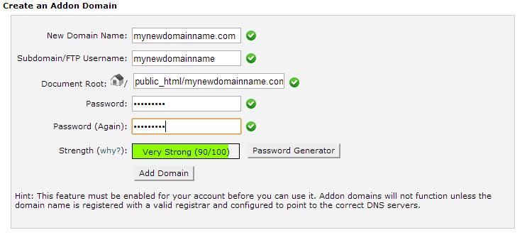 Alt Creating an Addon Domain